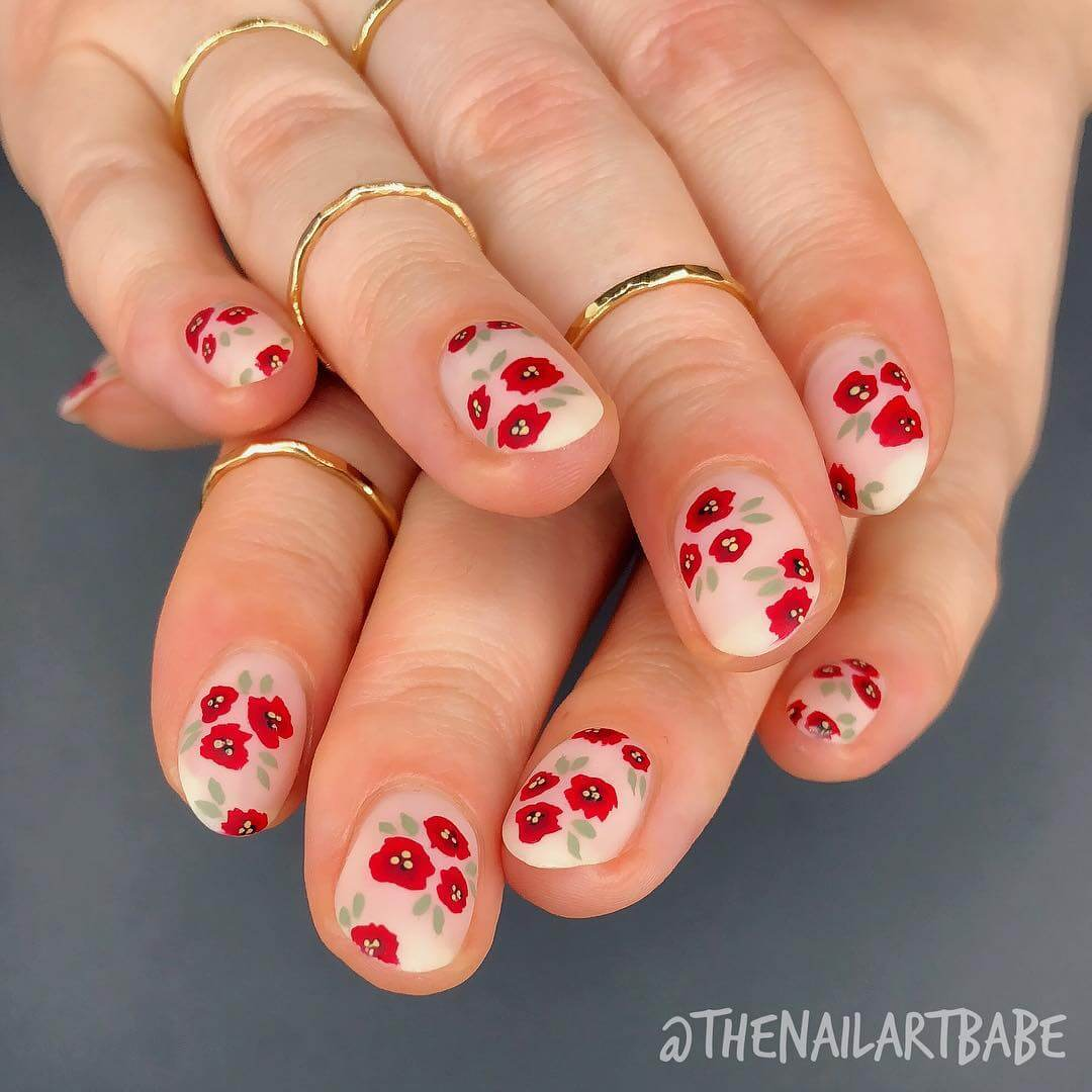The Red Rose Art for medium and short nails