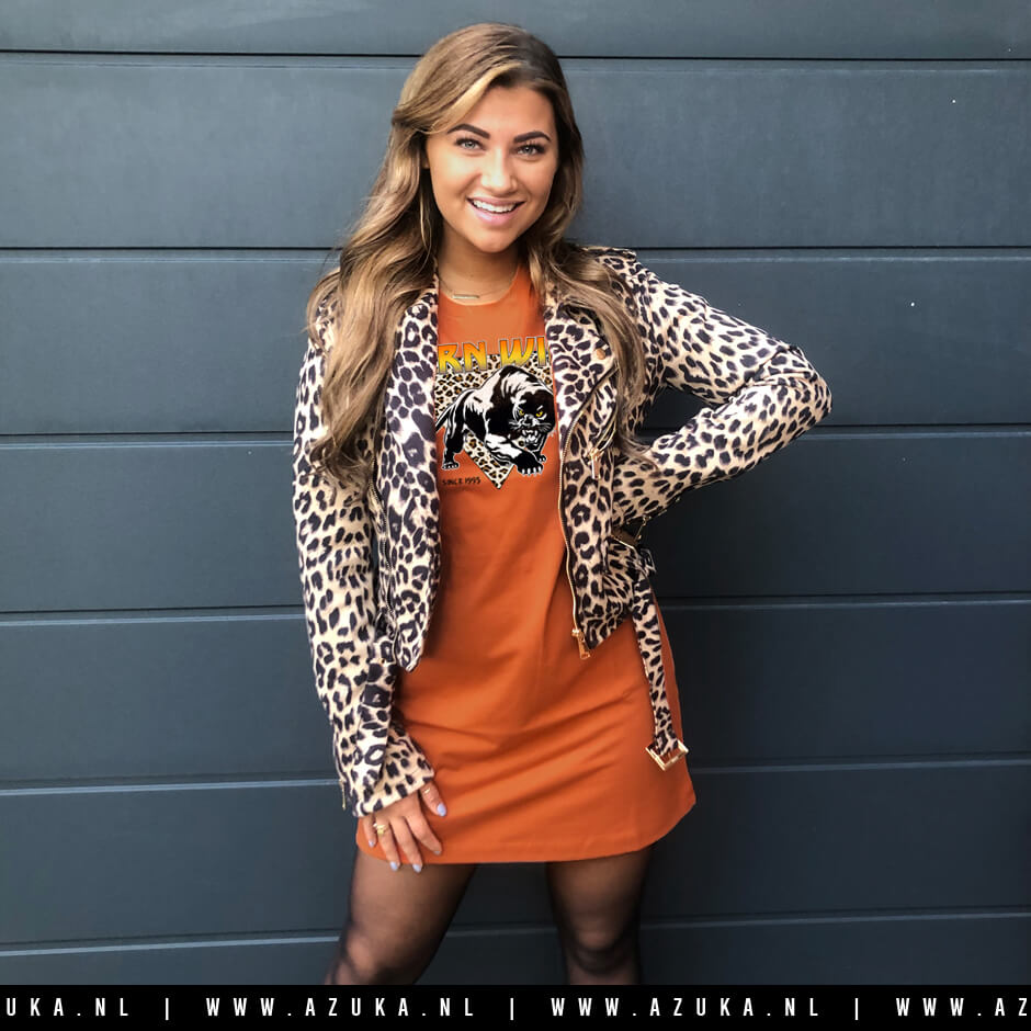 Leopard print jacket on a leopard graphic tshirt dress