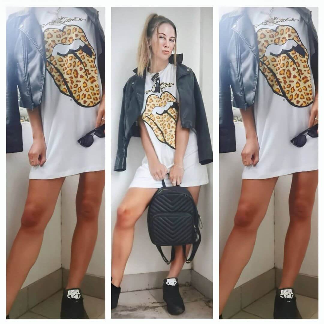 Get a chic look with a black leather jacket and back pack