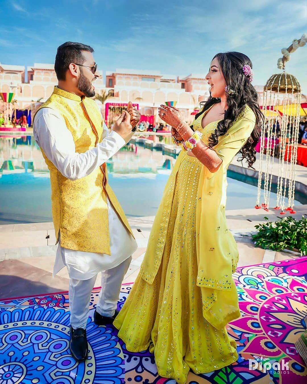 Highlighted two piece bridal jumpsuit outfit for Haldi-Mehndi Ceremony