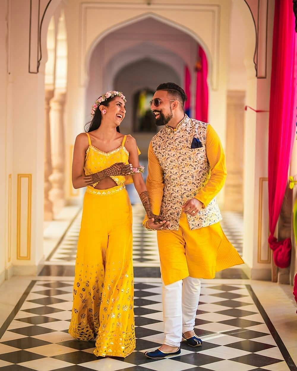 Yellow two piece bridal jumpsuit outfit for Haldi-Mehndi Ceremony