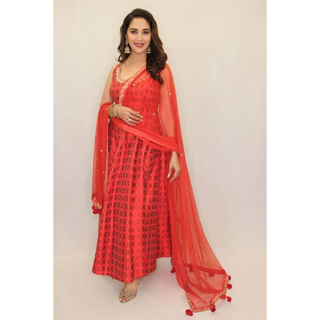 Madhuri Dixit Radiant Red Suits To Wear On A Sangeet