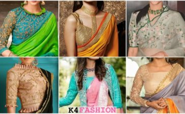 Latest & Trendy Blouse Designs - Front and Back neck saree blouse designs