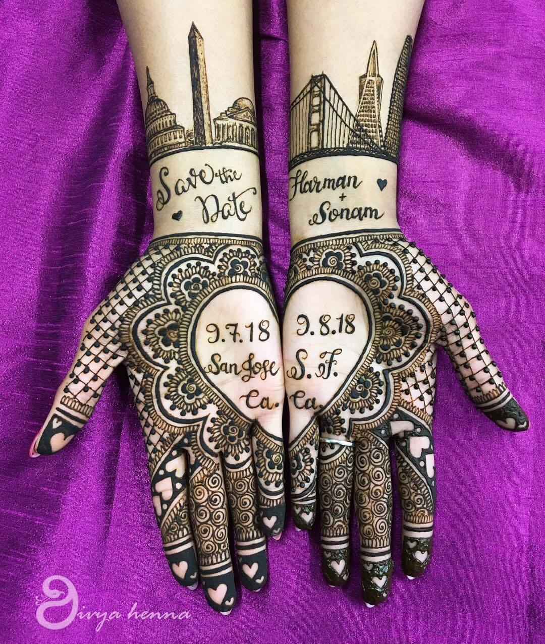Save The Date Mehendi For Contemporary Vibe Front Hand Mehendi Designs For Engagement