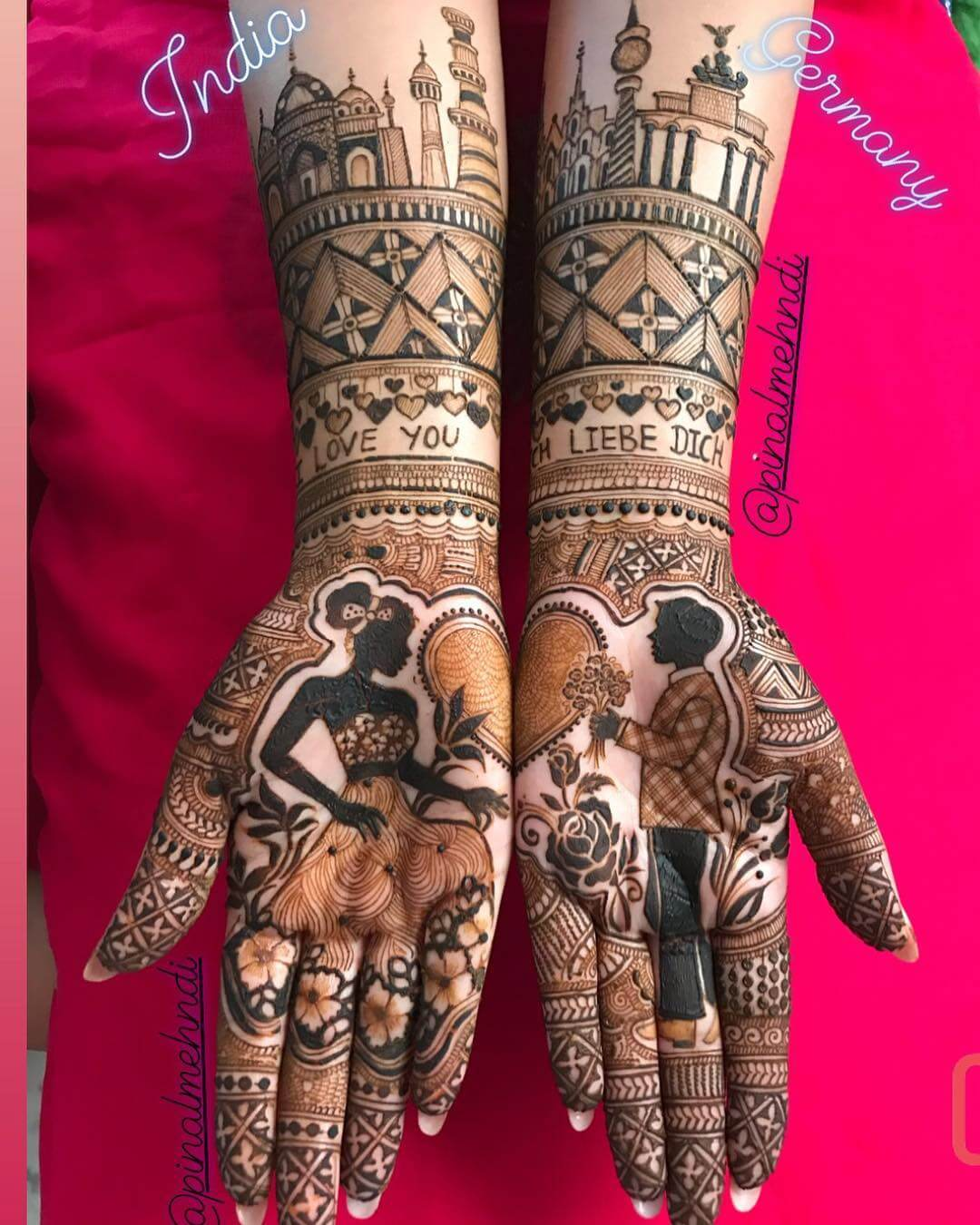 An Arresting Mehendi Design With The Best Of Both Worlds Front Hand Mehendi Designs For Engagement
