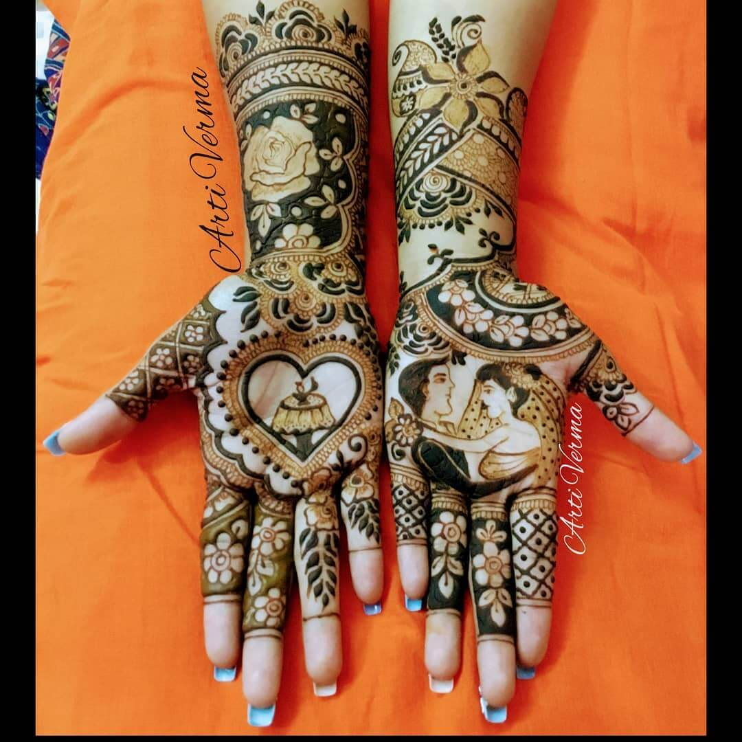 Floral Front Hand Mehendi Designs For Engagement