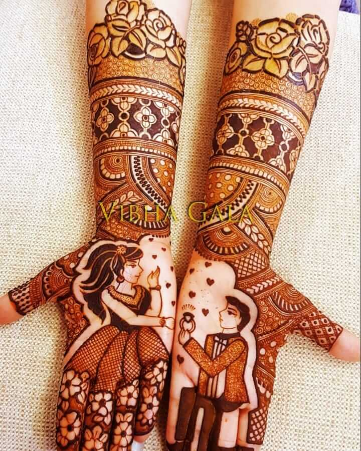 Beauty Of Couple Patterns In Engagement Mehandi Design