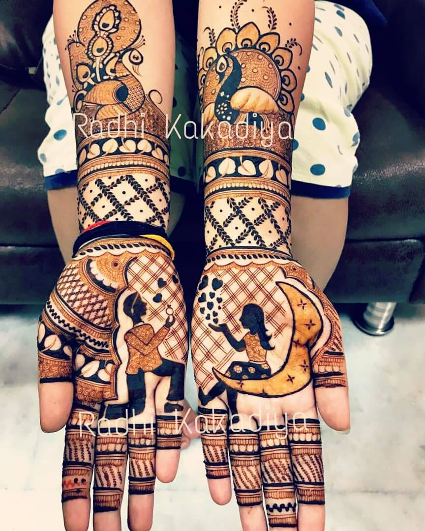 The Classic Peacock Pattern Front Hand Mehendi Designs For Engagement