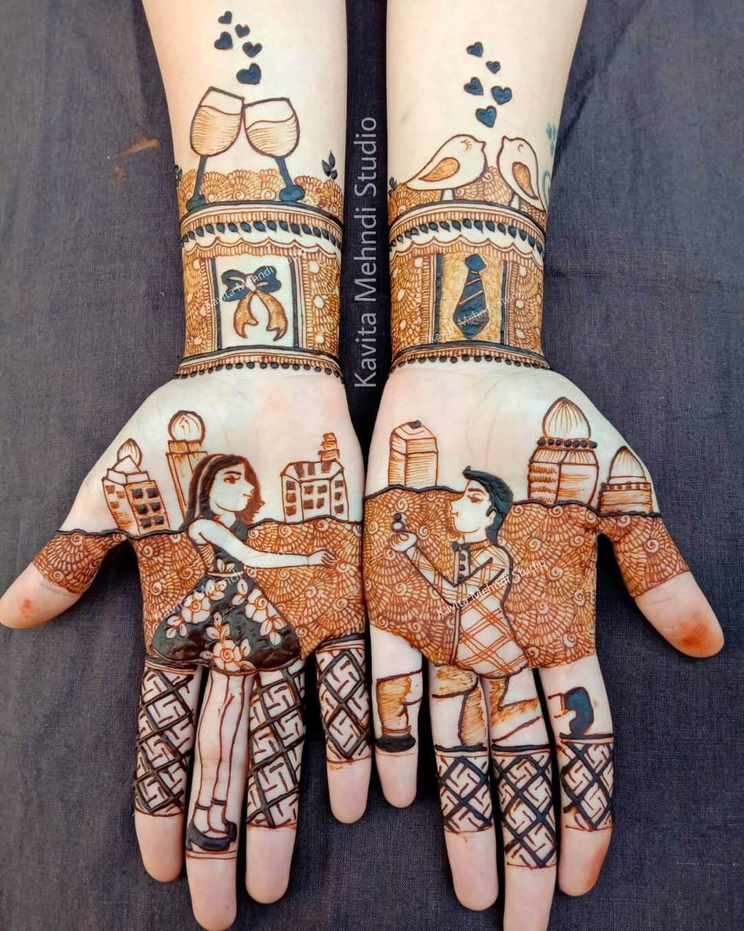 Artistic Mehendi Design For Engagement