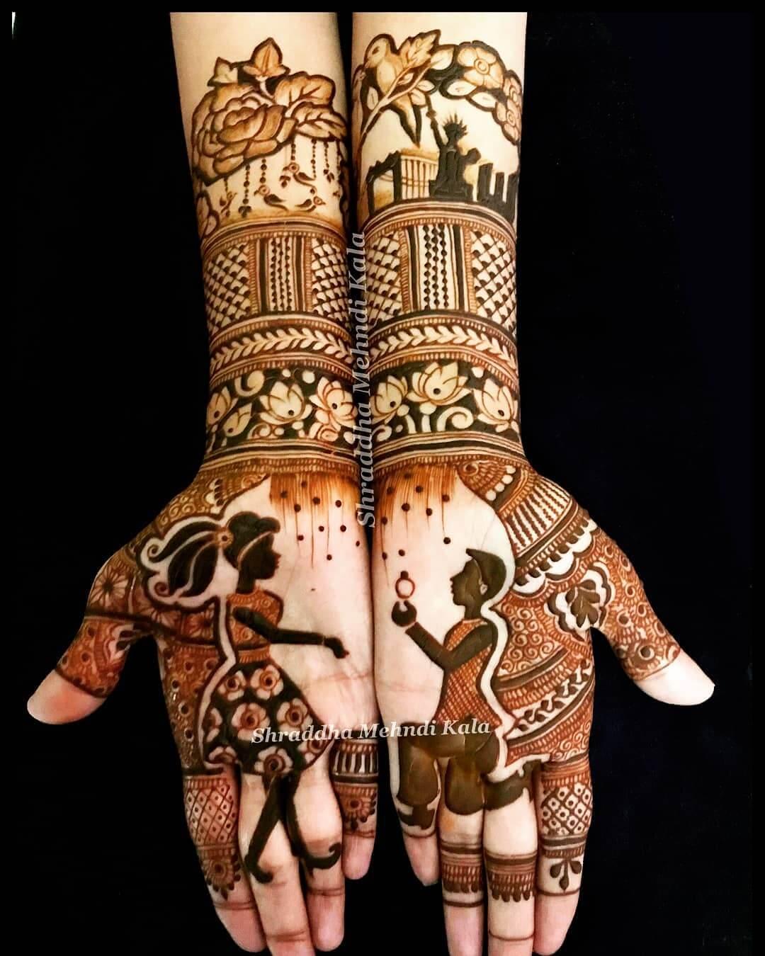 Elaborate Floral Designs Front Hand Mehendi Designs For Engagement