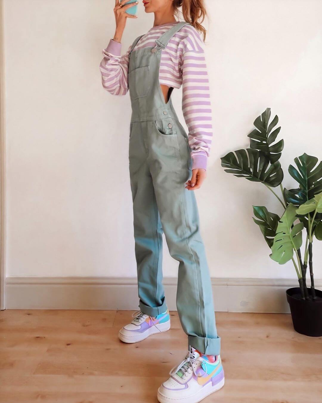 Pastel Green Dungaree On A Lavender And White Crop Tshirt