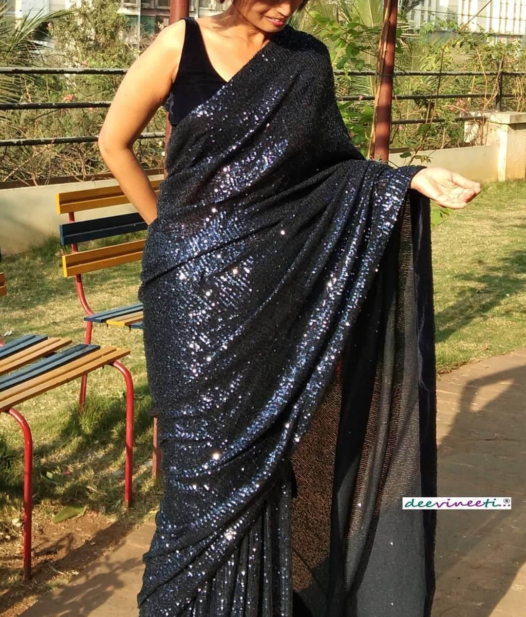 Sequin saree to slay a reception or a farewell party fun with sequin
