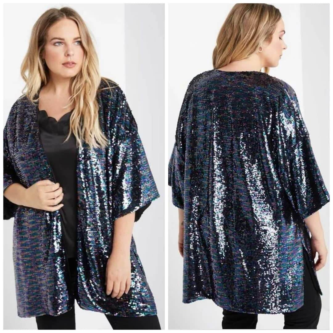 Add glitter to an outfit with a sequin shrug fun with sequin