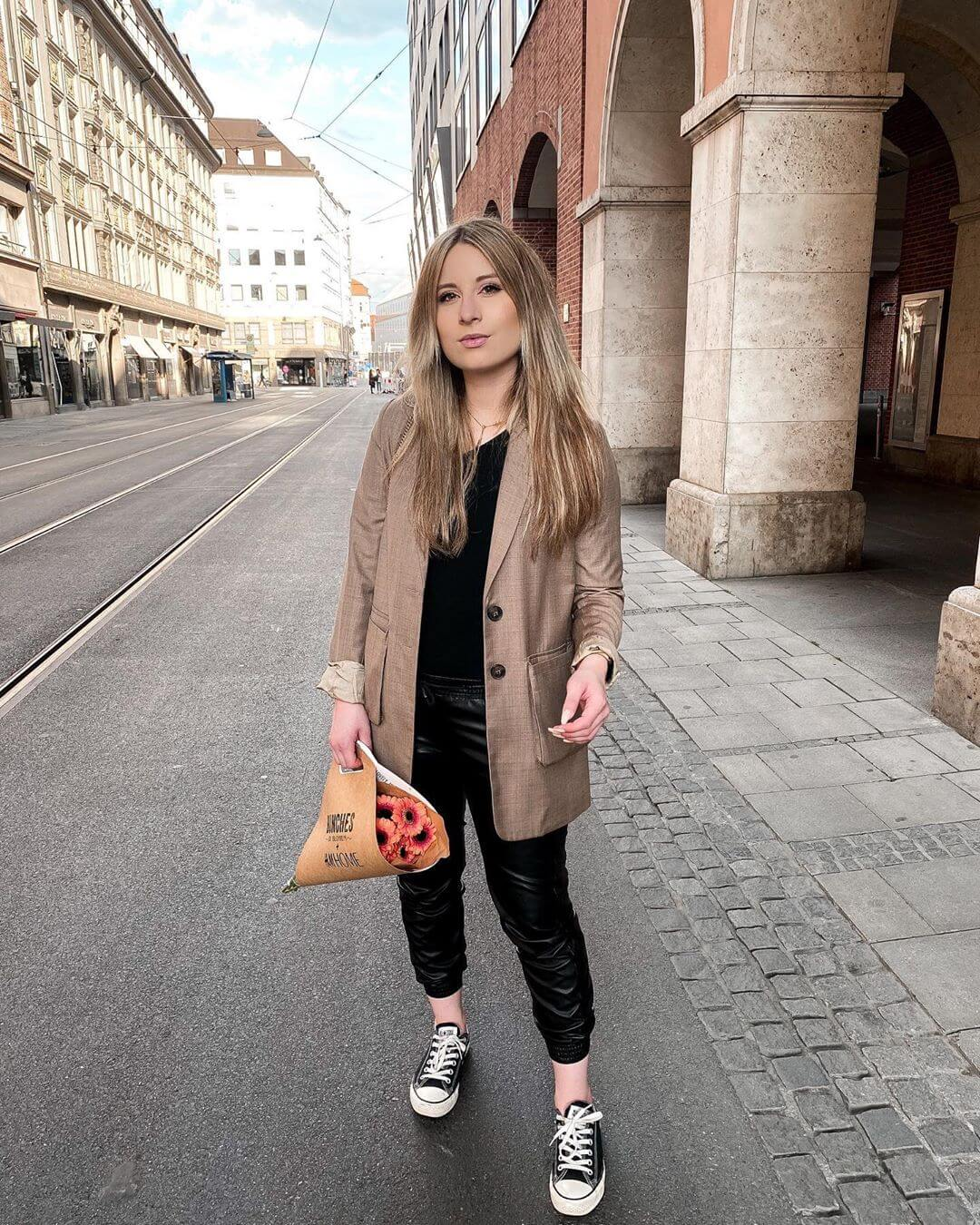 Leather pants with Nude Blazers