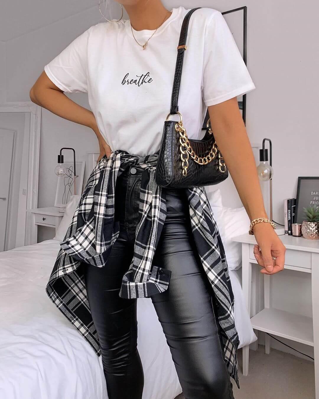 Checks Shirt with Leather Pants