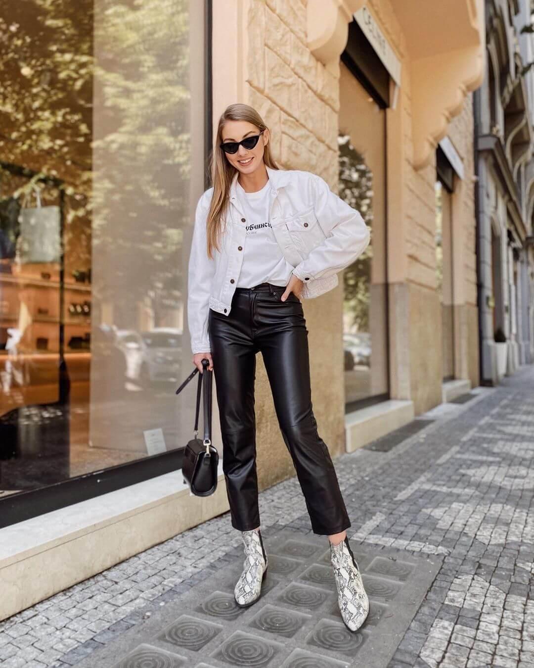 White Denim Jackets on Leather Pants