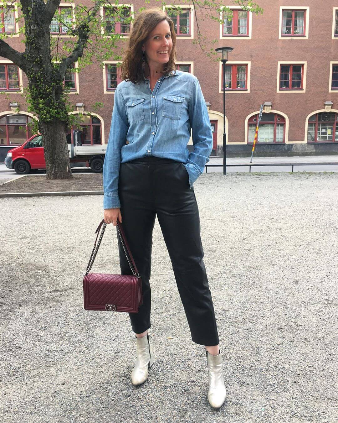 Leather pants with Blue denim shirt