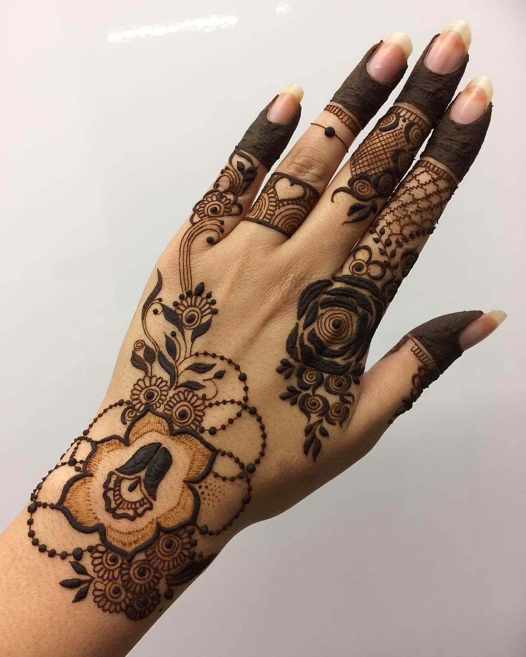 Funky Floral kerala Mylanchi mehandi Designs For Back Hand