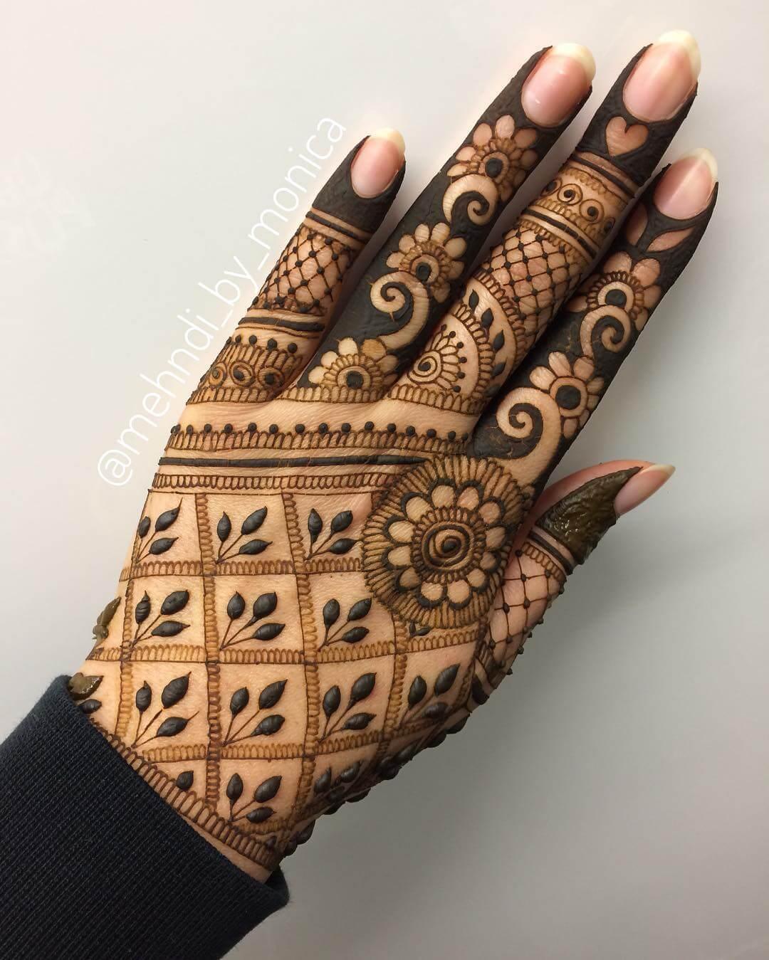 Unique Finger kerala Mylanchi mehandi Designs For Back Hand