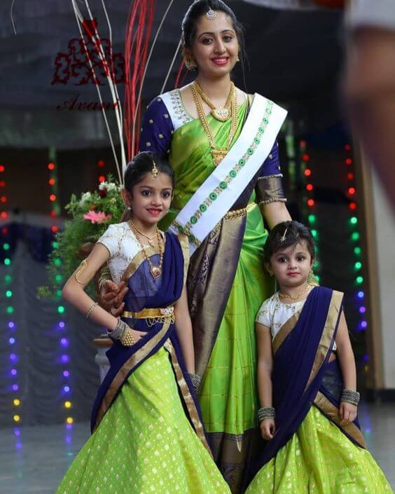 Just mom and daughters thing south indian wedding look