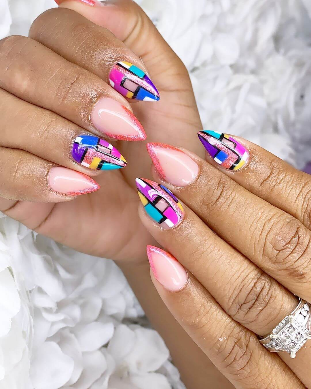 Colorful Blocks Nail Art For Medium Nails