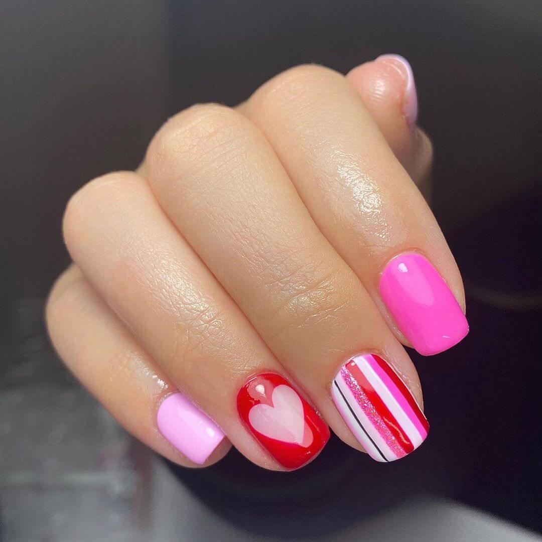 Stripes And Hearts Nail Art For Medium Nails