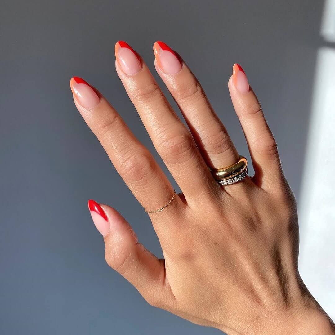 Two Toned French Manicure Nail Art For Medium Nails