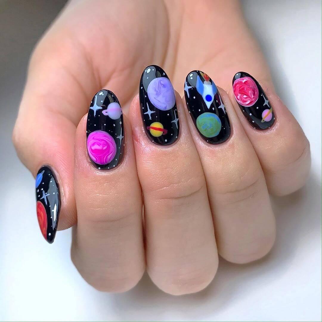 Galaxy Art Nail Art For Medium Nails