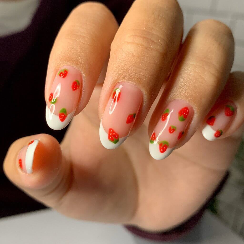 Delightful Strawberries Nail Art For Medium Nails