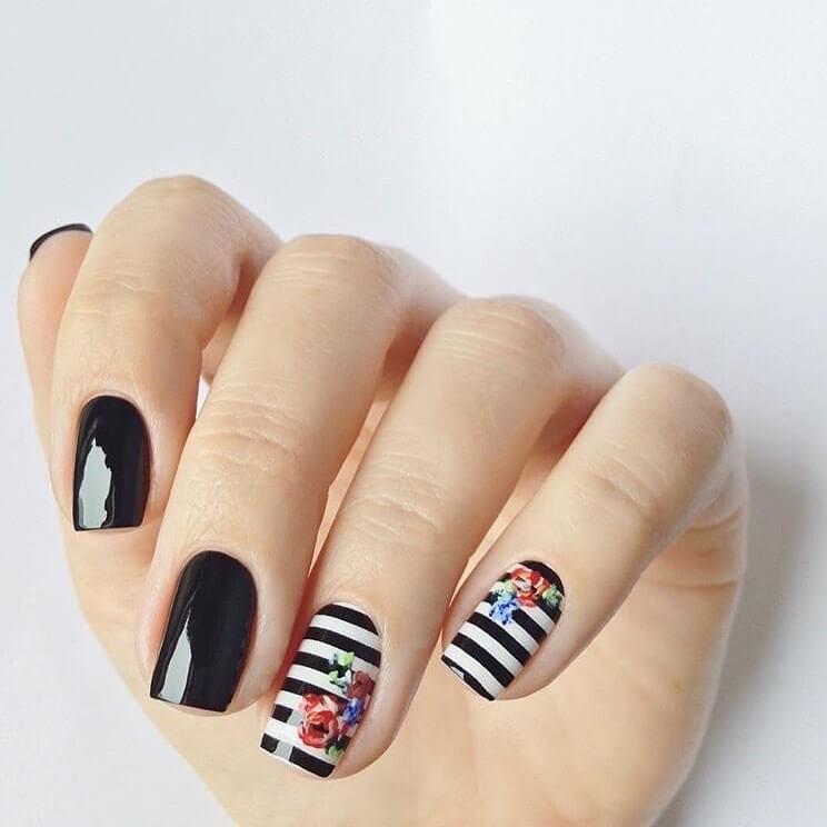 Monochrome Beauty Nail Art For Medium Nails
