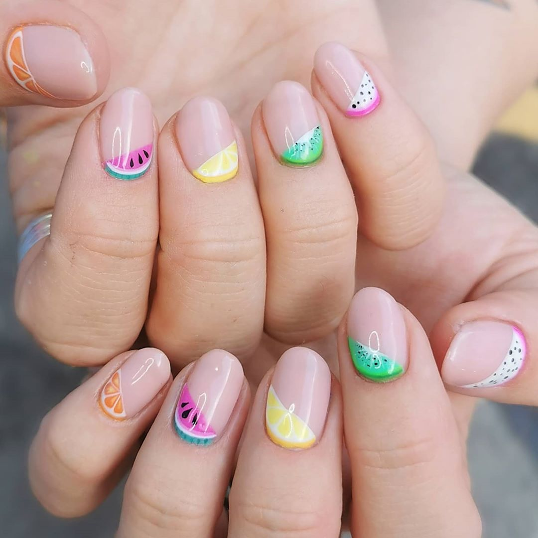 A Fruity Nail Art For Short Nails For Short Nails