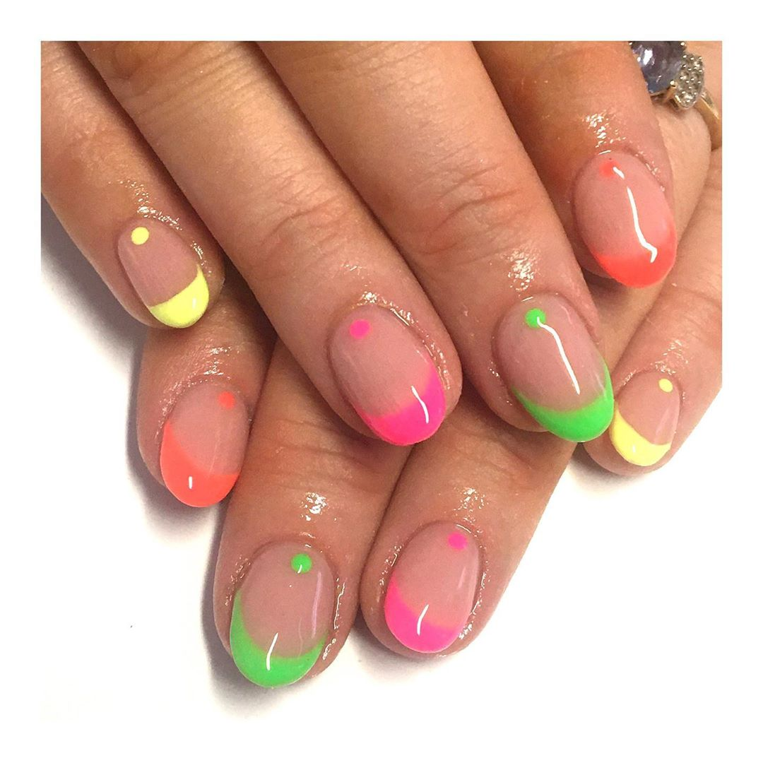 Neon Frenchie's For Summers For Short Nails