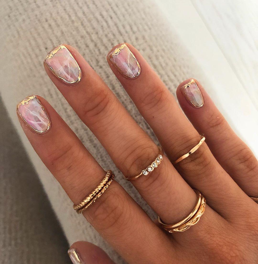 Opal Gel Nail Art For Short Nails