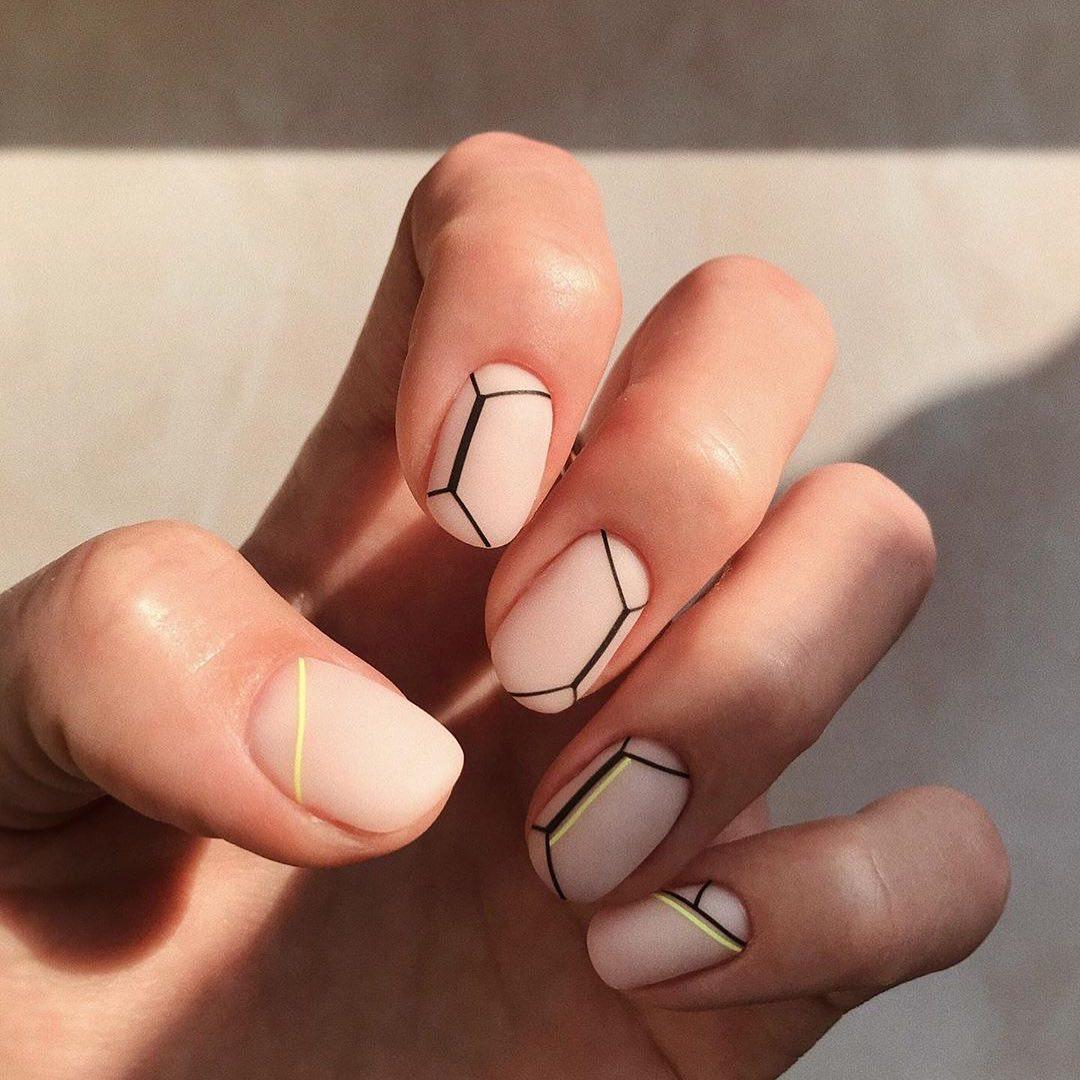 Neon Detailing Nail Art For Short Nails
