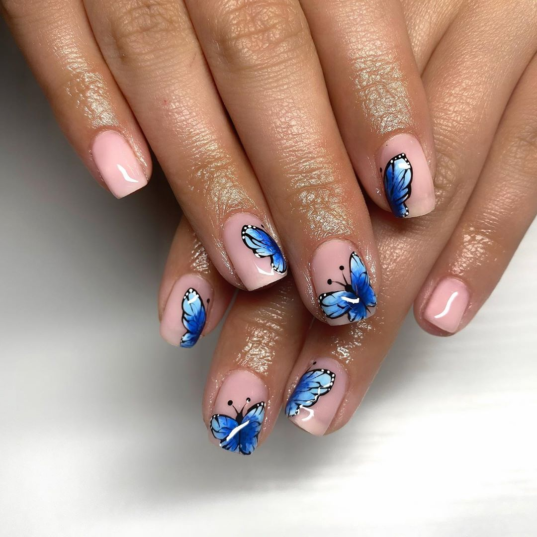 Butterfly Nail Art For Short Nails