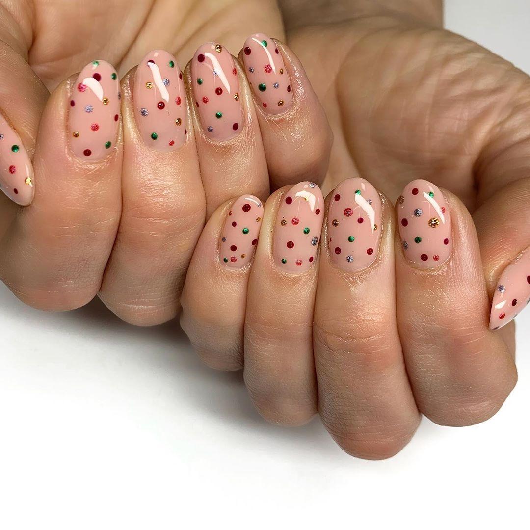 Polka Dots Nail Art For Short Nails