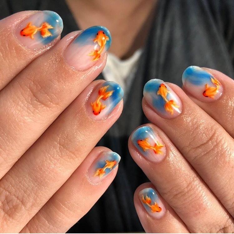 Fish Nail Art For Short Nails
