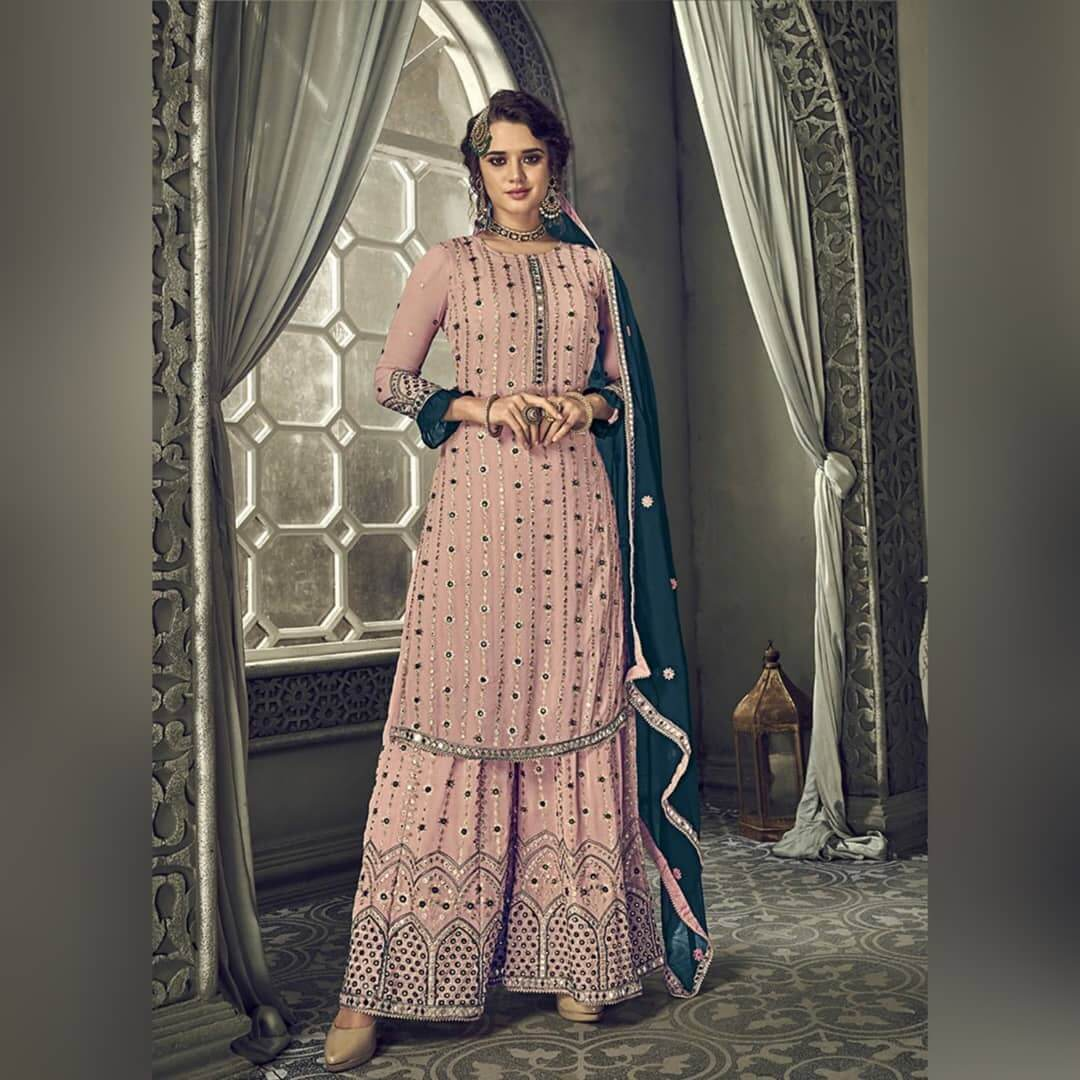 Heavily Embroidered Palazzo Suit With Mirror Work For This Festive Season