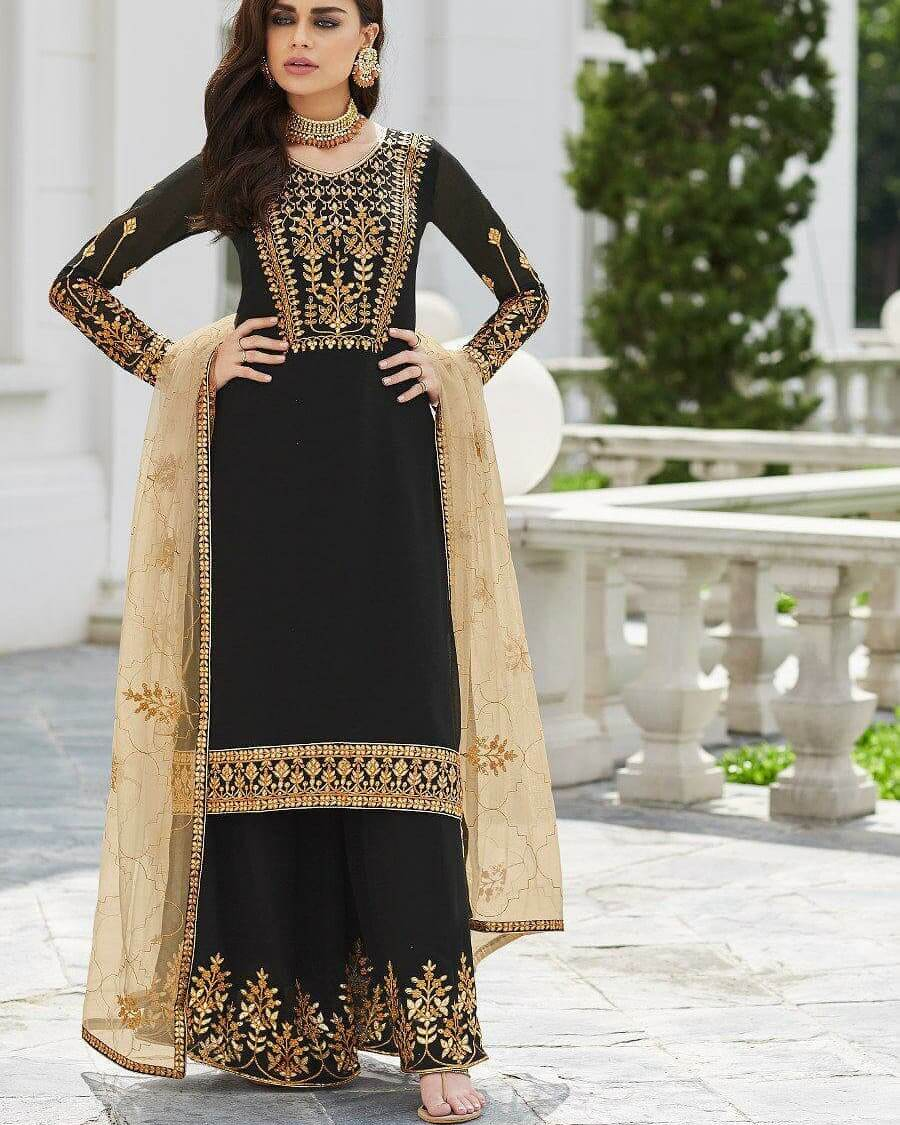 Black Party Wear Palazzo Suit With Net Dupatta For This Festive Season