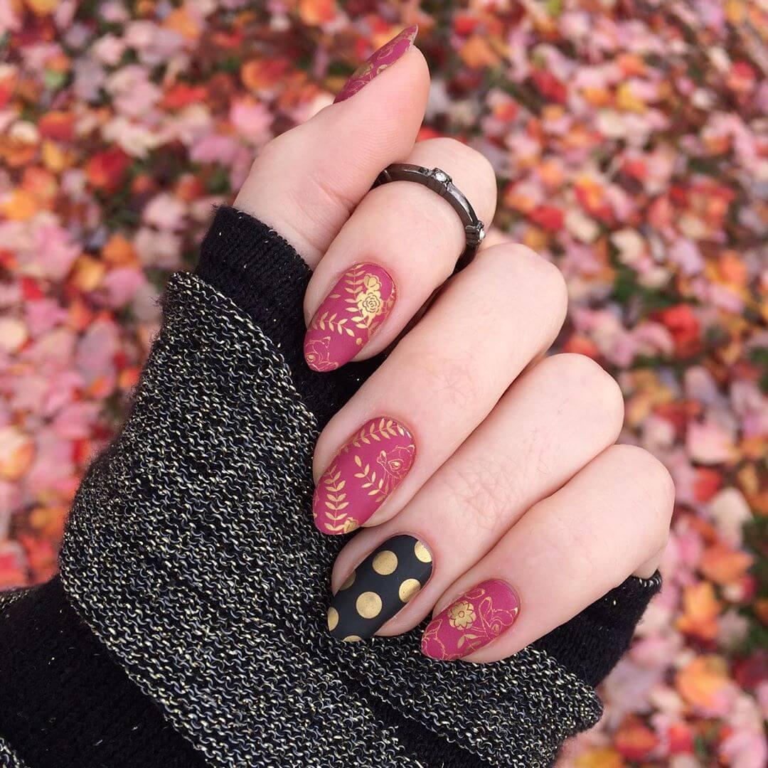 Matte and Gold Polka Dot Nail Design