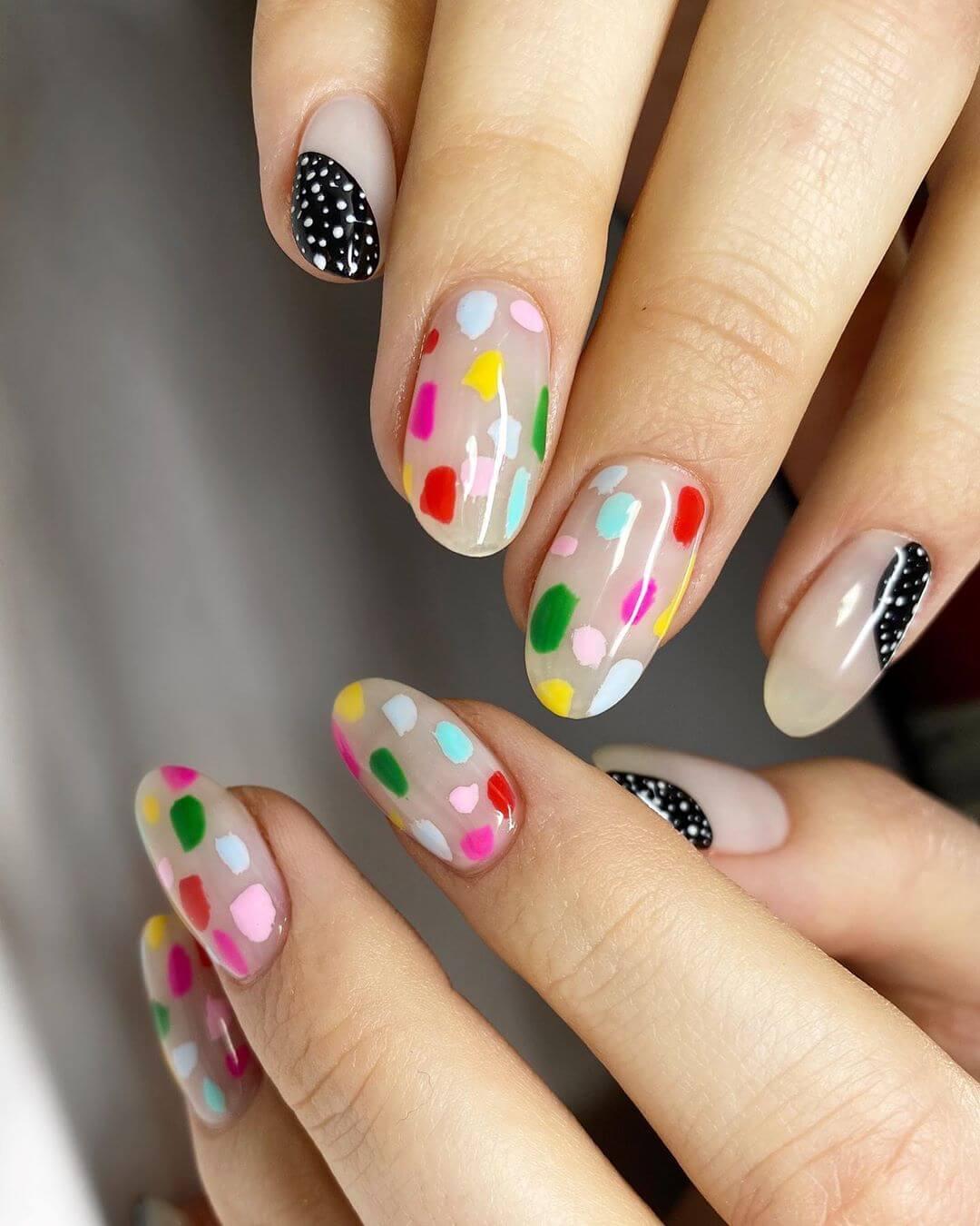 Random and Beautiful Polka Dot Nail Design