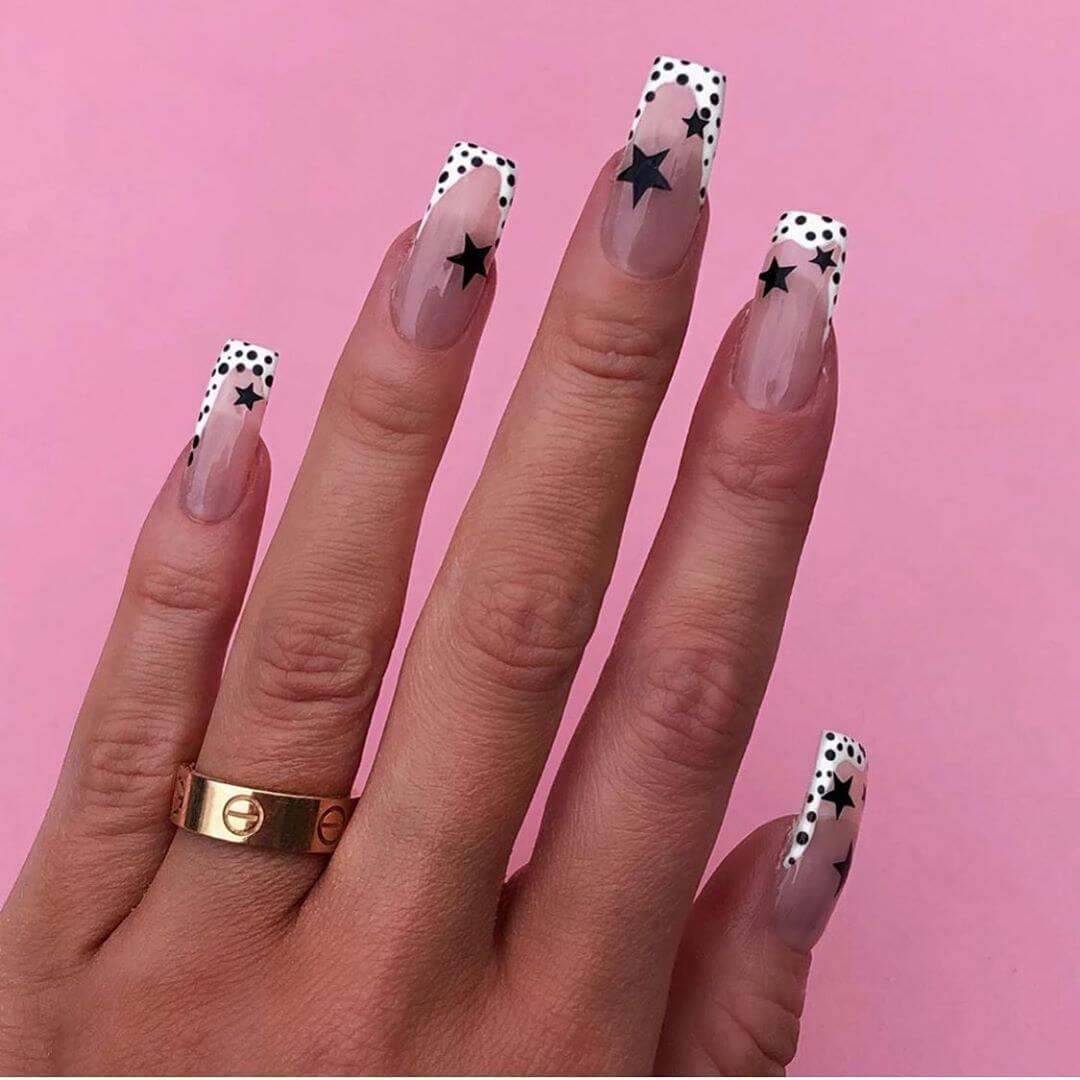 Dots and Stars Polka Dot Nail Design