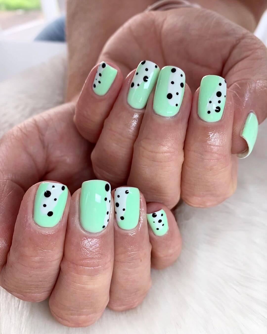 Mint Green Polka Dot Nail Design