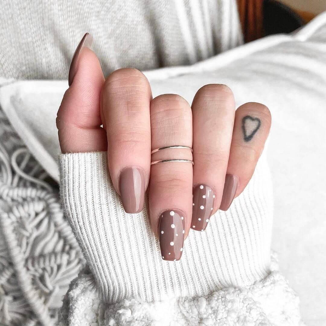 The Brown Beauty Polka Dot Nail Design
