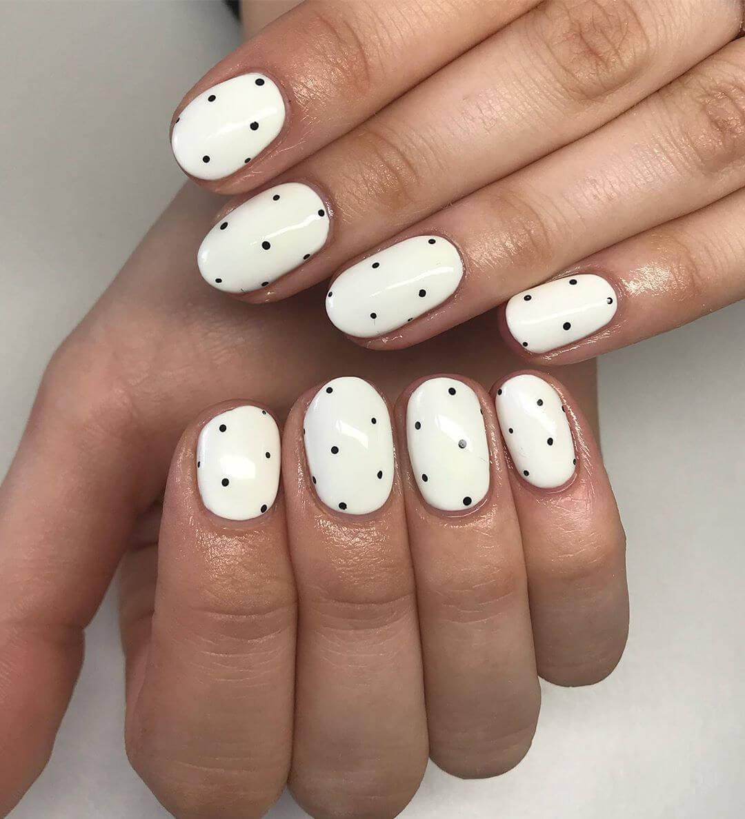 Classy in White Polka Dot Nail Design