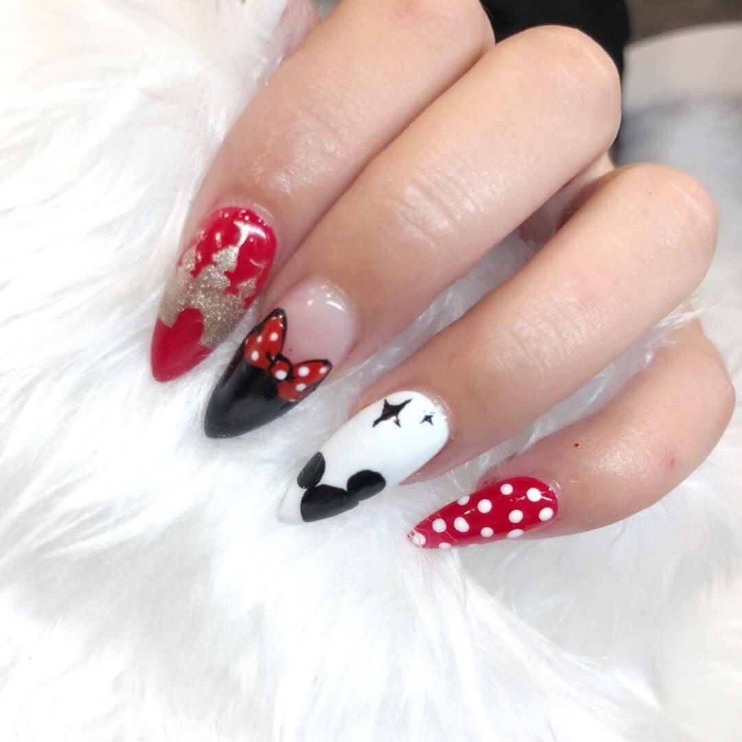 Mickey Mouse Nails Polka Dot Nail Design