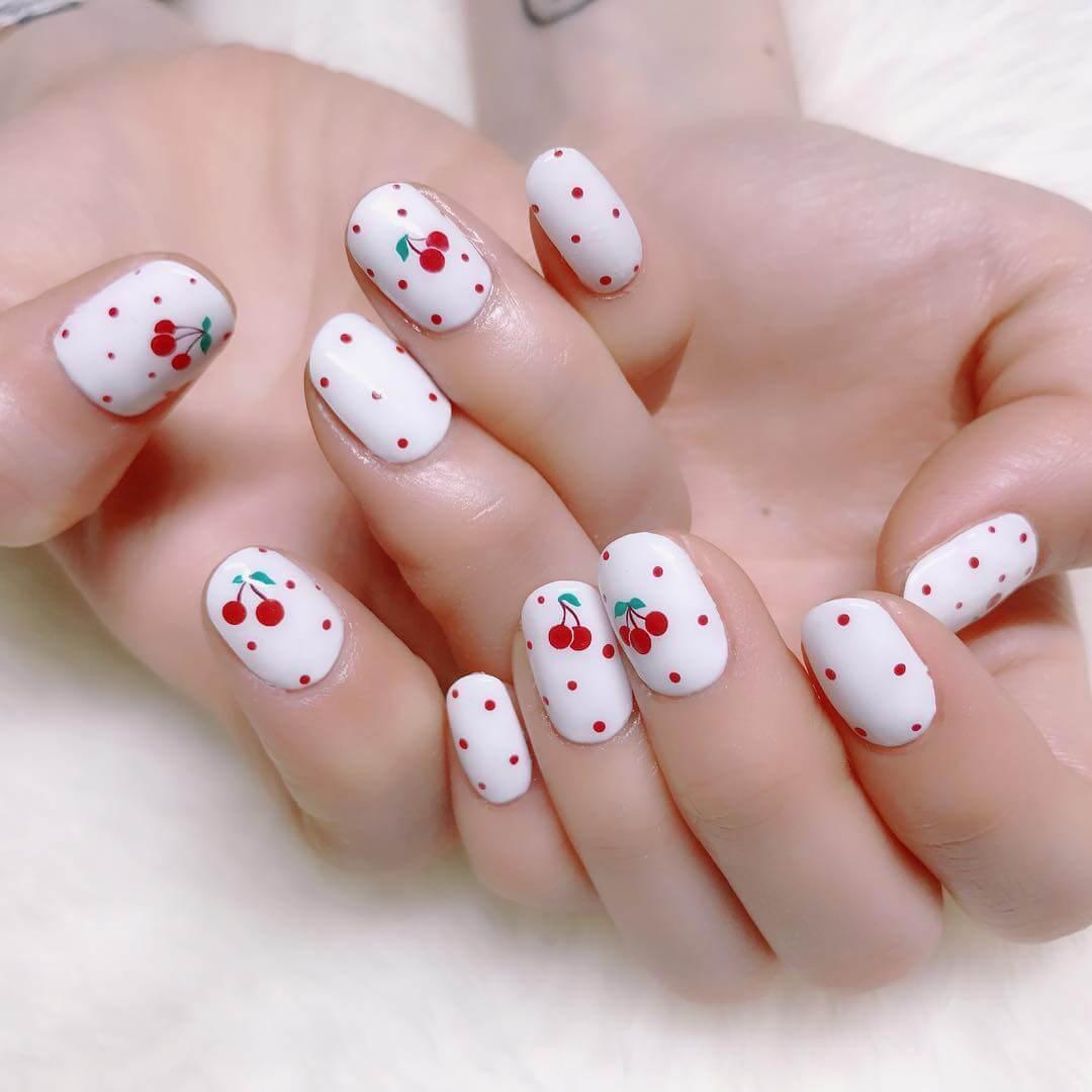 Cherry Red Polka Dot Nail Design