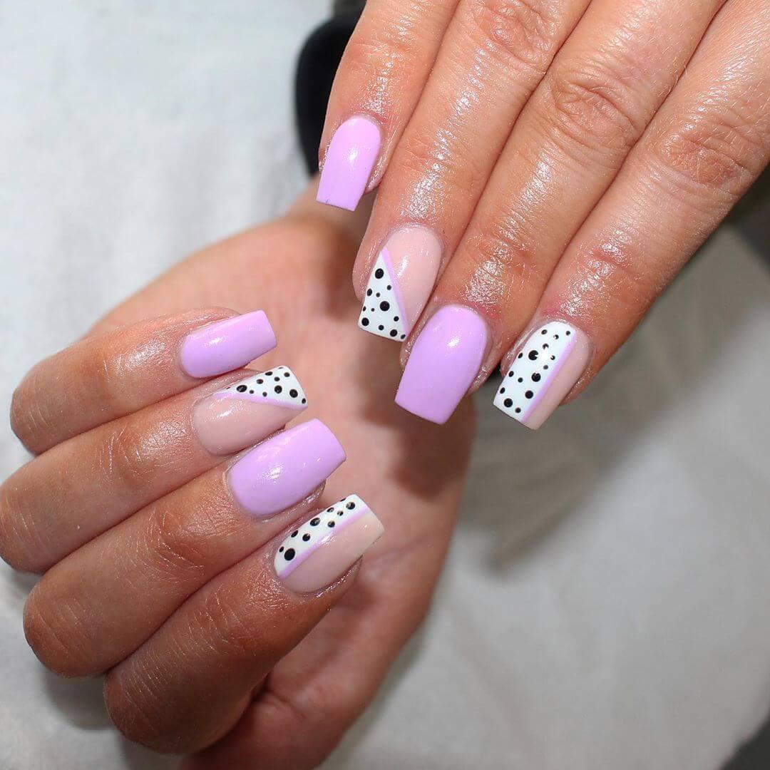 Purple Polka Dot Nail Design