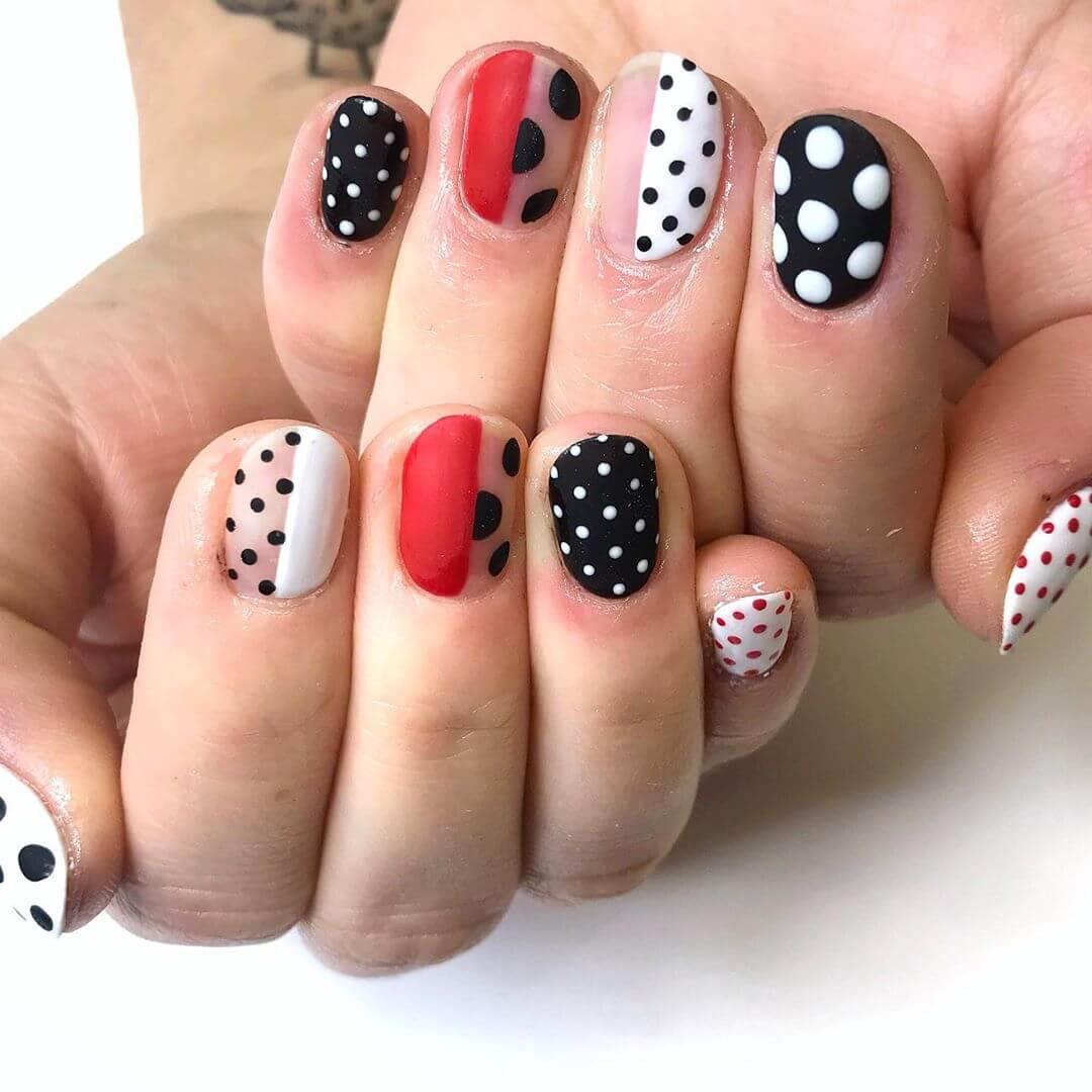 Quirky and Chic Polka Dot Nail Design
