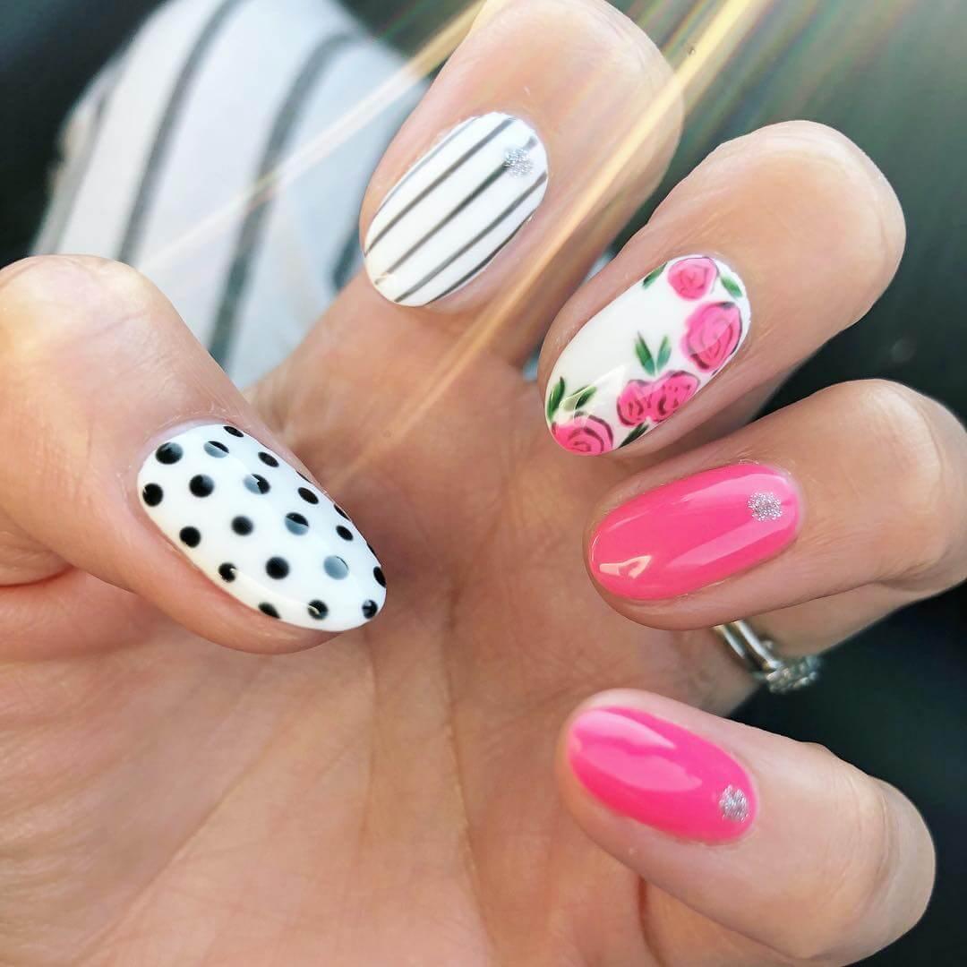 Stripes, Dots and Roses Polka Dot Nail Design